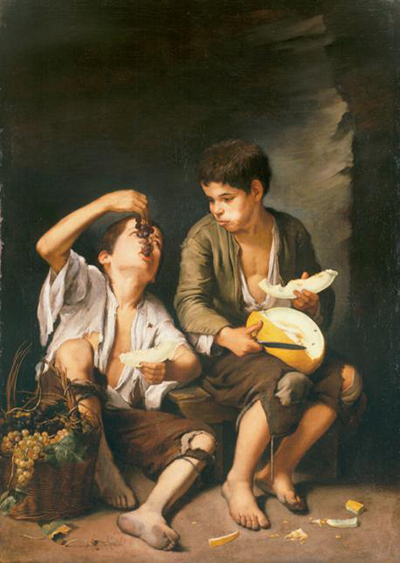 Bartolome Esteban Murillo, Trauben- und Melonenesser, um 1650