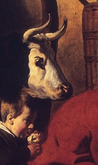 Ausschnitt aus: Jacob Jordaens, Der Satyr beim Bauern, um 1620-21