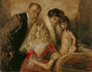 Franz von Lenbach, Selbstbildnis mit Frau und Töchtern, 1903