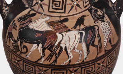 Etruskisch schwarzfigurige Amphore, um 530 v. Chr., dargestellt ist der trojanische Prinz Paris, der die Rinder des Priamos hütet © Staatliche Antikensammlungen und Glyptothek München, fotografiert von Renate Kühling
