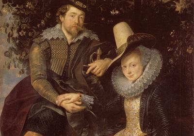 Ausschnitt aus: Peter Paul Rubens, Rubens und Isabella Brant in der Geißblattlaube, um 1609/10