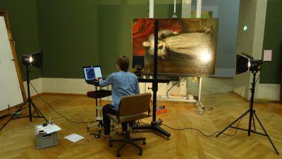 Forschungsarbeiten, Anfertigung von Infrarotreflektogrammen, © Bayerische Staatsgemäldesammlungen