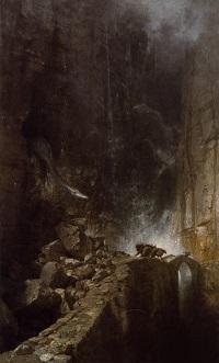 Arnold Böcklin, Drachen in einer Felsenschlucht, 1870