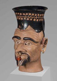 Kopfgefäß von Charon, griechisch-etruskischer Totengeleiter; Staatliche Antikensammlungen und Glyptothek München, fotografiert von Renate Kühling
