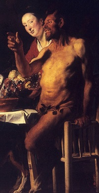 Jacob Jordaens, Der Satyr beim Bauern, um 1620-21 (Ausschnitt)