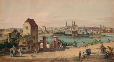 Wilhelm Eilers, Der Canaletto-Blick auf München im Jahr 1761, um 1900, © Münchner Stadtmuseum